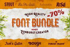 {-70%} FONT BUNDLE, 7 in 1 + Bonuses by Pavel Korzhenko on Creative Market