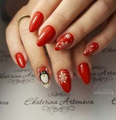 Chistmas Nails, Christmas Manicure, Christmas Nail Designs, Christmas Nail Art, Christmas Design, Nail Palace, Manicure Y Pedicure, Nails On Fleek, Red Nails