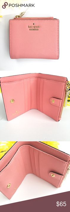 """Kate Spade Adalyn Wallet From the Kate Spade New York Cameron Street Collection, this petite wallet is perfect for smaller bags. Details include an exterior credit card pocket and windowed id holder, and a zippered compartment for your change or receipts. The Adalyn wallet has 6 credit card slots and a billfold compartment. Crosshatched leather with matching trim, snap closure, and gold tone zipper and logo. 3.7"""" H x 5.2"""" W. kate spade Bags Wallets"""