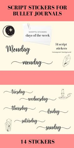 Week Stickers, Bullet Journal Stickers Bullet Stickers, Bullet Journal Stickers, Printable Stickers, Planner Stickers, Stickers Design, Days Of Week, Planner Supplies, Logo Background, Pattern And Decoration