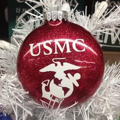 Holiday Christmas Tree Ornament Military Branch US Marine – TheDepot. Glitter Ornaments, Diy Christmas Ornaments, Christmas Holidays, Christmas Bulbs, Christmas Decorations, Christmas Ideas, White Christmas, Ornaments Ideas, Military Decorations