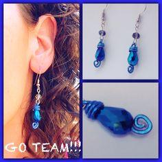 Blue Tear Drop Swirled Wrapped Earrings