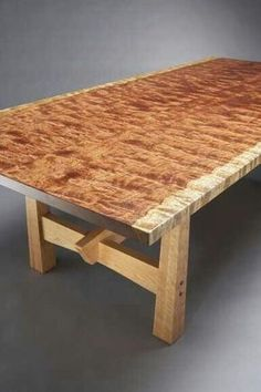 Live edge figured bubinga slab table by Brian Hubel (top is a single, solid piece of wood) Live Edge Furniture, Fine Furniture, Unique Furniture, Wooden Furniture, Furniture Projects, Custom Furniture, Table Furniture, Furniture Design, Wood Slab