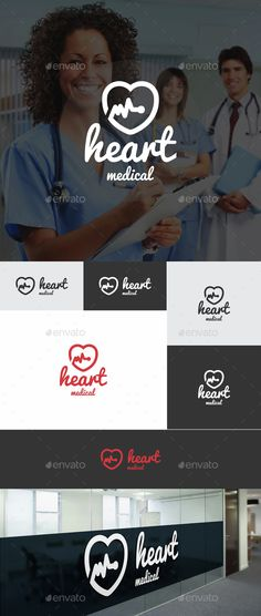 Heart Medical Logo – Heart Pulse Logo / Heartbeat Logo.