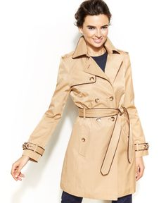 Inc International Concepts Faux-Leather-Trim Trench Coat