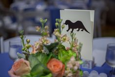 Dana and Daniel's wedding had beautiful table settings and animal themed escort cards! Photo Credit: The Day Entertainment.