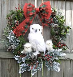 HUGE Snow Owl Family Winter Christmas Wreath, White Owl ,by IrishGirlsWreaths, $225.00 SOLD!