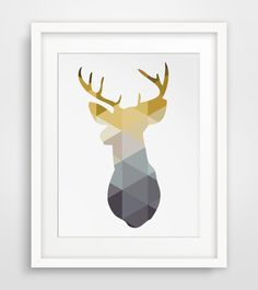INSTANT DOWNLOAD: Mustard yellow and navy deer wall prints  ===   Print out this modern wall artwork from your home computer or local print