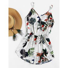 e4ee071456c8 SHEIN Womens Shorts Rompers Ladies Vacation V Neck Sleeveless High Waist  Jumpsuit Tropical Print Surplice Tulip Hem Cami Romper