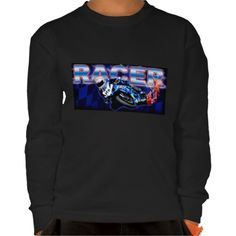 The blue flamed motorcycle racing leaving a trail of flames.  t-shirt #motorcycle #speed #boys #race #biker #sportbike