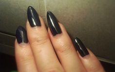 """Lumene Gel Effect nail polish 16 """"Lake Blue"""" Beautiful blackened blue #nails #lumene #geleffect #blue #almond #shape"""