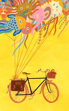I love this so much.  Imagine riding with a beautiful balloon bouquet like that.  I hope I dream this tonight.