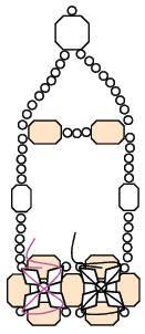 Schéma Bracelet Zircon en Perles 2-- 1/2 tube rocialle maron, 64 (4mm) toupies, 4 facettes 4 mm, 57 facettes 6 mm.
