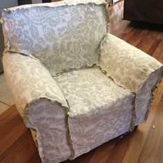 DIY / slipcover / chair / recovered / project / furniture
