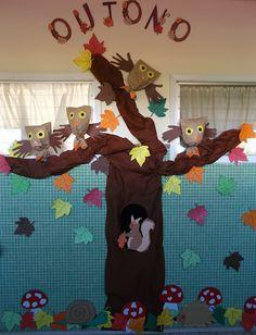 Onte rematamos o mural de outono que estivemos a facer estes días atrás. Nel puxemos follas con todas as cores do outono: amarelas, laranxas. Childcare Activities, Family Activities, Art For Kids, Crafts For Kids, Arts And Crafts, Senses Preschool, Autumn Crafts, Owl Art, Forest Animals