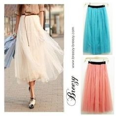 $11.99 Candy Colors Women Ladies Elastic Pleated Tulle Waistband Mesh Long Maxi Skirt | eBay