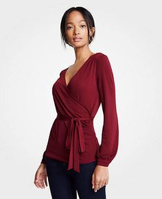Image 1 of 1 - Belted Wrap Top Fall Winter Outfits, Autumn Winter Fashion, Fall Photos, Work Wear, Ann Taylor, Fancy, Blouse, Pretty, How To Wear