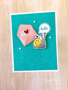 Hello - Snailed It - Snail Mail Bundle - Stampin' Up! - Fiona Bradley - handmade card 21 Cards, Note Cards, Snail Cards, Hello Cute, Animal Cards, Pli, Paper Pumpkin, Snail Mail, Stamping Up