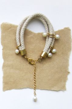 Clustered Pearl and Rope Bracelet - Natural Cotton. $27.00, via Etsy.