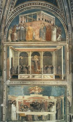 Giotto di Bondone (Italian artist, 1267-1337).Scenes from the Life of St Francis (north wall) 1325-28 Fresco Bardi Chapel, Santa Croce, Florence