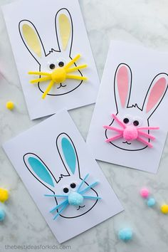 An easy Easter bunny card for kids to make. Two free printable templates to make different designs - a silhouette card or an Easter bunny face card. Easter Bunny Card Craft - easy Easter craft for kids Easy Easter Crafts, Easter Art, Bunny Crafts, Paper Crafts For Kids, Easter Bunny, Easy Crafts, Easter Ideas, Easter Decor, Summer Crafts