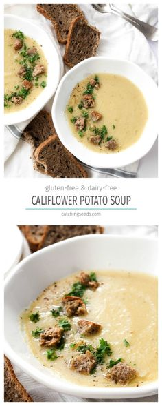 This Cauliflower Potato Soup recipe is a secretly healthy dinner! It is rich and creamy, but dairy-free. It's also vegan and gluten-free. | Catching Seeds