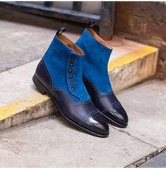 New Blue Color Genuine Leather Rounded Cap Toe High Ankle Buttons Boots for Men… – zapatos Derby, Suede Leather Shoes, Soft Leather, Mens Suede Boots, Cowhide Leather, Leather Jacket, High Ankle Boots, High Shoes, Stylish Boots