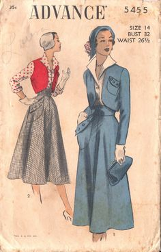 ON SALE Advance 5455 Vintage 1950s Blouse, Bolero and Skirt Suit Sewing Pattern Size 14