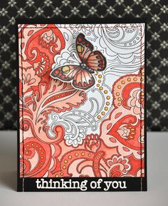 love the partially colored background Butterfly Cards, Butterfly Wings, Flower Cards, Butterfly Kisses, Card Tags, Beautiful Butterflies, Pictures To Draw, Paper Cards, Creative Cards