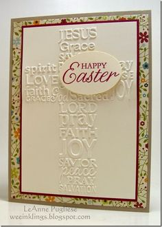 LeAnne Pugliese WeeInklings Embossed Easter Cross Happy Easter Stampin Up