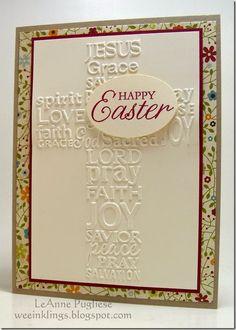 LeAnne Pugliese WeeInklings Embossed Easter Cross Happy Easter Stampin Up