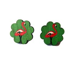 Pink and Green Flamingo Wooden Post Earrings by CloudNineDesignz, $12.00