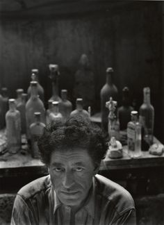 "Alberto Giacometti, Paris, France, 1954 by Arnold Newman. ""When I make my drawings... the path traced by my pencil on the sheet of paper is, to some extent, analogous to the gesture of a man groping his way in the darkness."""