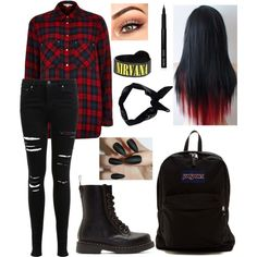 Michael Clifford by sleeping-lemon on Polyvore featuring polyvore fashion style River Island Miss Selfridge Dr. Martens JanSport Boohoo Bobbi Brown Cosmetics