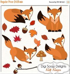 50% OFF TODAY What does the Fox Say? Foxes Clip Art for Digital Scrapbooking, Fall Cards, Crafts, Burnt Orange, Black,  Autumn, Instant Down