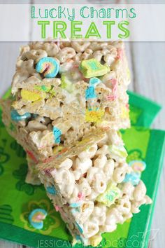 Lucky Charm Marshmallow Treats for St. Patrick's Day