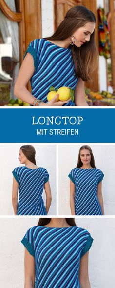 Lässiges langes Top mit diagonalen Streifen stricken / knitting pattern for a casual longtop with stripes via DaWanda.com