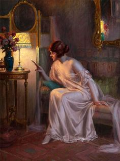 """Before bedtime. Delphin Enjolras (French, 1857-1945). Oil on canvas.""""Knowing you have something good to read before bed is among the most pleasurable of sensations."""" –Vladimir Nabokov"""
