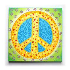PEACE sign art for girls room12x12 acrylic canvas by nJoyArt, $60.00