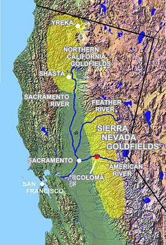 California goldfields in the Sierra Nevada and northern California