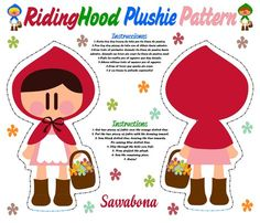 Ridinghood_plushie_pattern_COLOR fabric by sawabona for sale on Spoonflower - custom fabric, wallpaper and wall decals