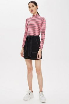 TALL Belted Denim Skirt as part of an outfit Look Fashion, Skirt Fashion, Womens Fashion, Fashion Trends, Summer Skirts, Mini Skirts, Topshop Tall, Tall Clothing, Outfit Goals