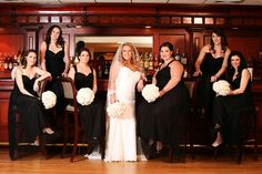 Bridesmaids and flowers in a real Kleinfeld Paper wedding ||  Flowers from http://www.colonialflowershopny.com/  ||  Photo by North Island Photography http://www.niphotoinc.com/#!/home