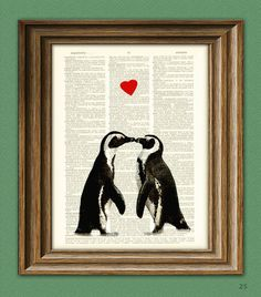 Penguin Art Print Romantic PENGUIN COUPLE in love with heart altered art dictionary page illustration book print from collageOrama on Etsy. Penguin Art, Penguin Love, Poster Prints, Art Prints, Couples In Love, Heart Art, Altered Art, Altered Books, Flower Tattoos