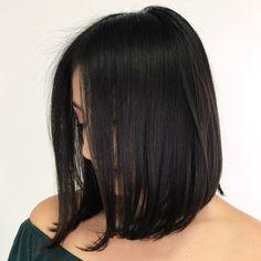 Smooth Lob for Dark Hair