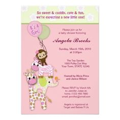 Girl Jungle Safari Animal Baby Shower Invitations Perfect jungle safari design for a girl! Fun baby shower invites - customize your invitations Baby Shower Invites For Girl, Girl Shower, Baby Shower Themes, Baby Shower Gifts, Shower Ideas, Baby Shower Giraffe, Baby Shower Invitaciones, Baby Shower Supplies, Baby Shower Activities