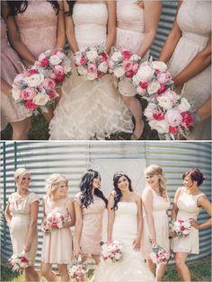 peach bridesmaid dresses http://www.weddingchicks.com/2013/10/02/family-farm-wedding/