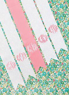 monogram bouquet ribbons