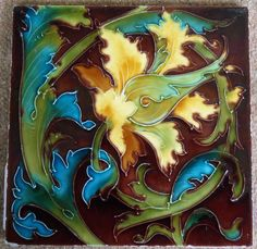 """Unusual 8"""" x 8"""" tubed tile from the Mintons China Wks c1907"""