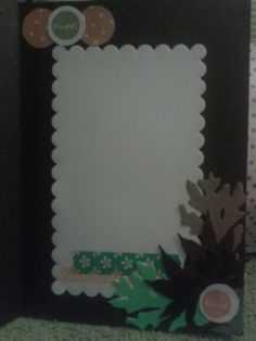 Inside view of owl card with layers of leaves and washi tape.